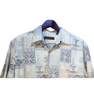 Tori Richard Brown Beige Hawaiian Shirt Size M